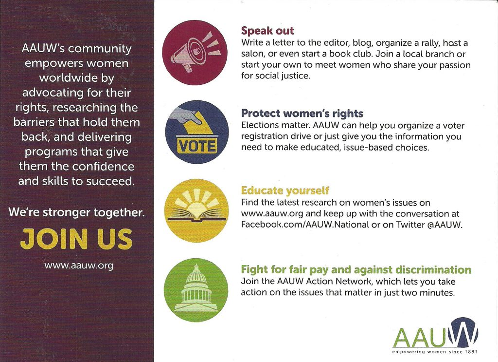 AAUW's community empowers women worldwide by advocating for their rights, researching the barriers that hold them back, and delivering programs that give them the confidence and skills to succeed. We're stronger together. Join us.